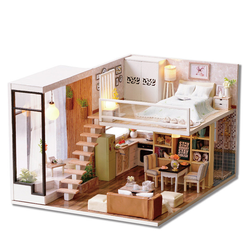 Romantic Cottage DIY Dollhouse With Furniture Light Cover Music House Miniature Model