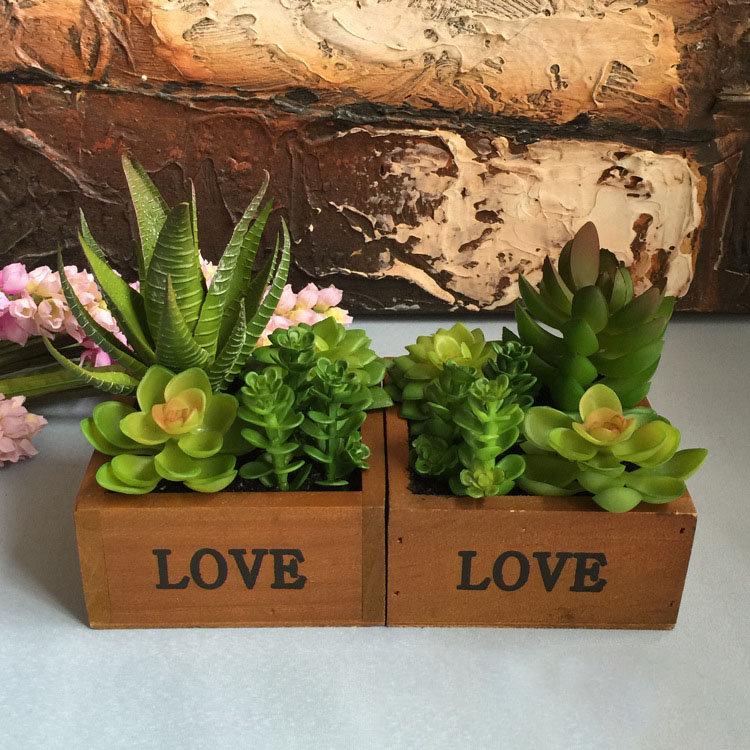 LOVE Wooden Basin Desktop Lotus Succulent Plantas Flower Pot Garden Bonsai