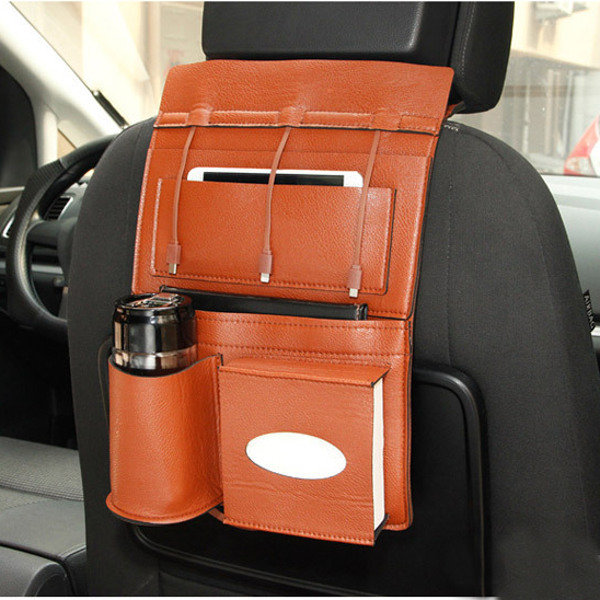 Leather Chargable Car Storage Bag Seat Back Multi-Pocket Micro USB 8Pin Type-c Charging Cable