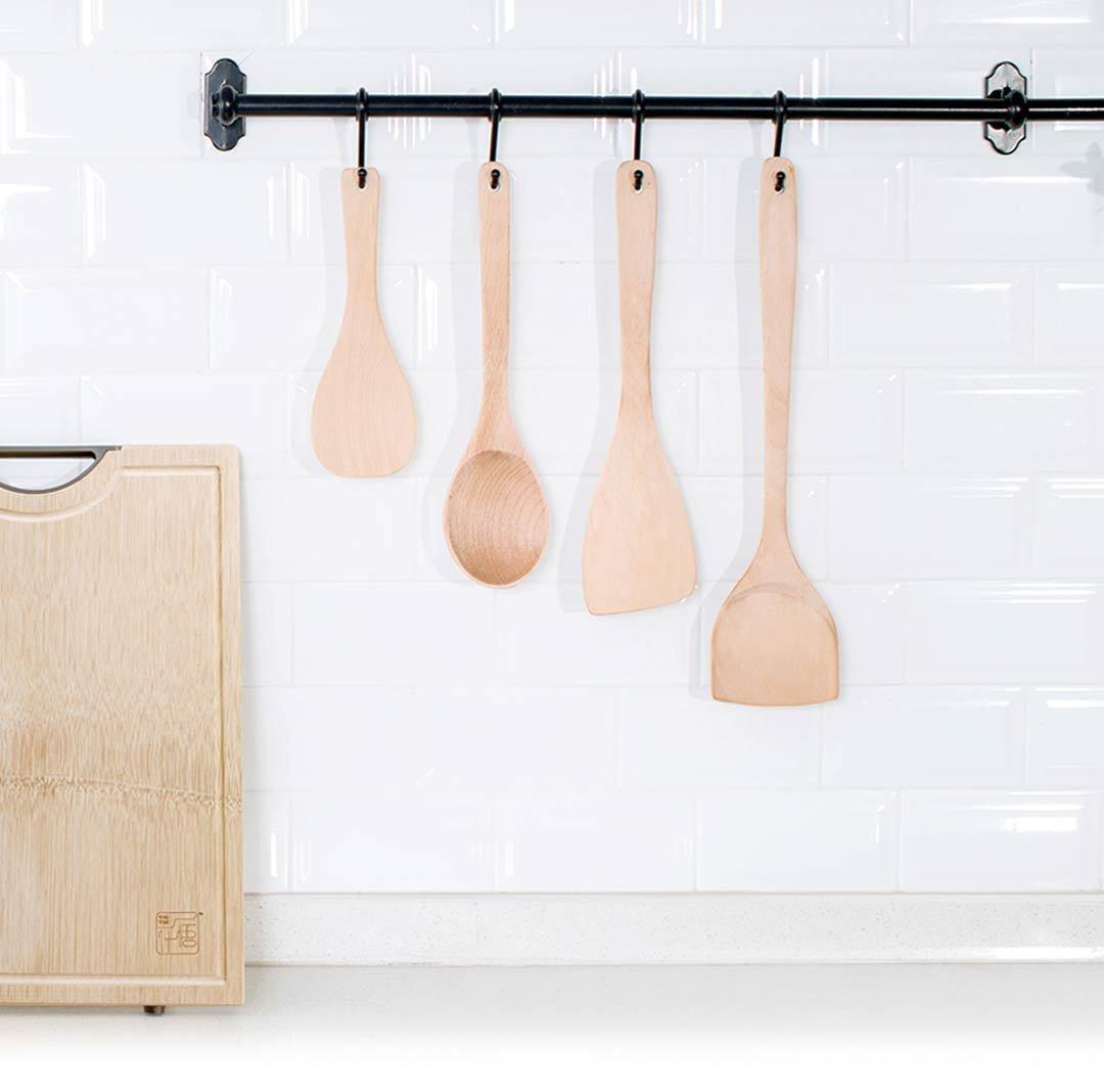 Jia Кухонный совок из бука, набор из четырех предметов, кухонная утварь, лопатка, токарный станок