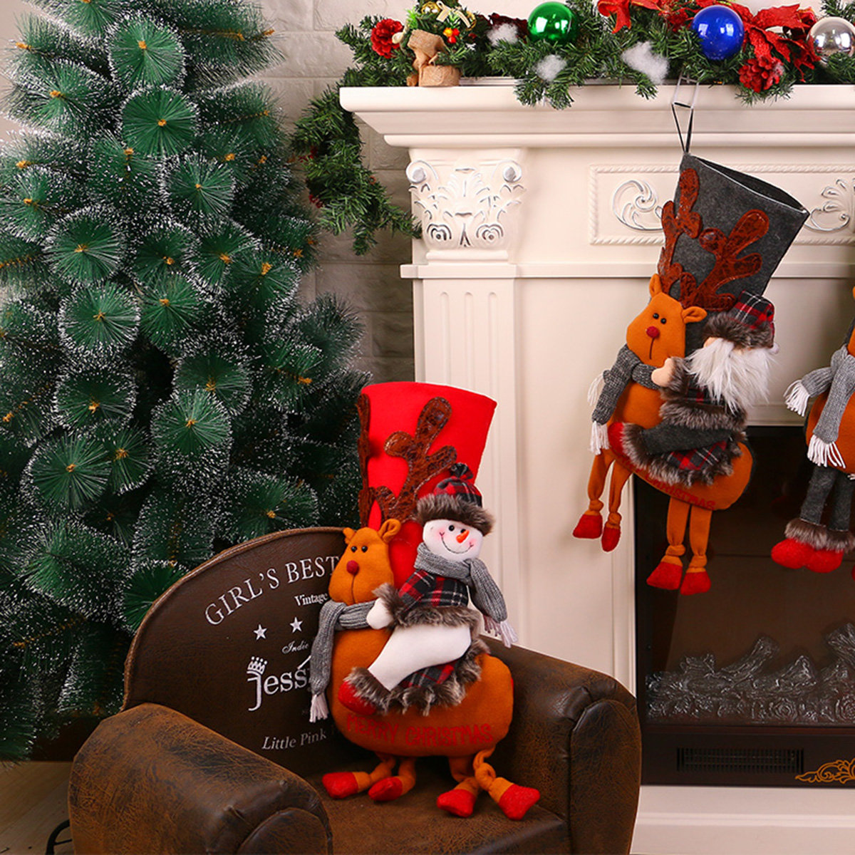 Calcetín de Navidad con decoración de muñeco de nieve 3D, calcetín colgante para regalo Bolsa