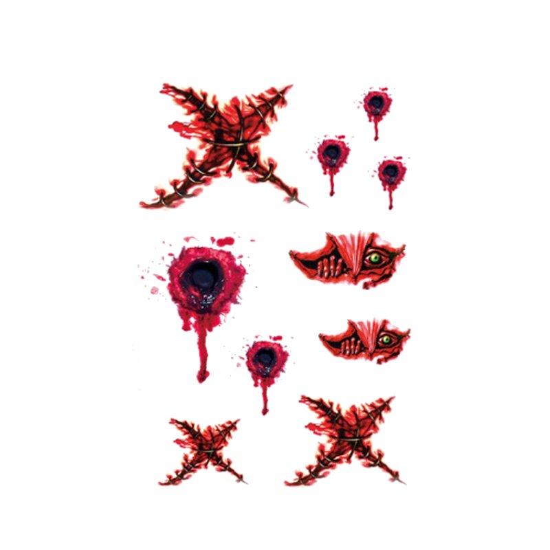 Halloween Body Wounds Bloody Scar Waterproof Temporary Tattoo Sticker