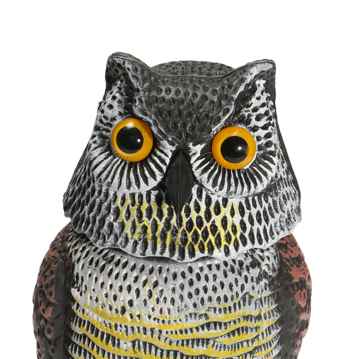 Artificial Resin Owl with Rotating Head Garden Yard Landscape Ornament Outdoor Hunting Decoy