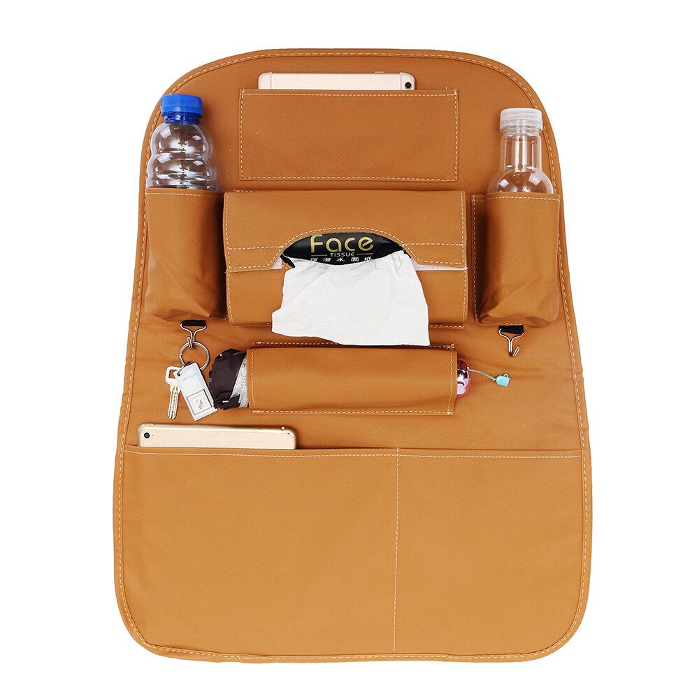 PU Leather Car Seat Back Storage Bag Waterproof Multi-functional Cup Holder Organizer