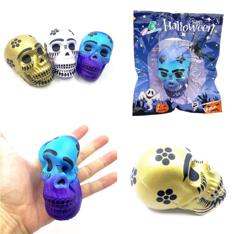 Chameleon Squishy Skull Skeleton Head 10cm Halloween Decor Slow Rising With Packaging Gift Toy