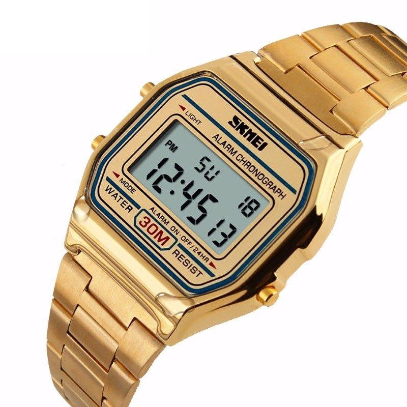 SKMEI 30M Waterproof Rectangle Digital Stainless Steel Band Luxury Wrist Watch for Men Women