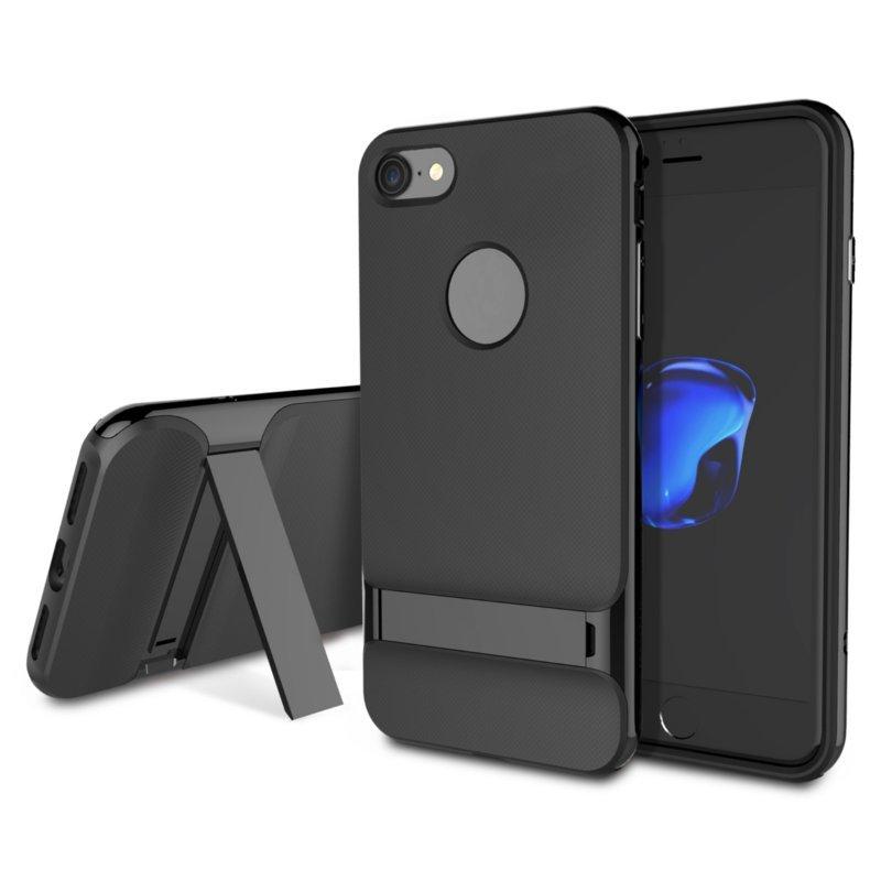 जेट ब्लैक रॉक रॉयस सीरीज़ बेवलड किकस्टैंड केस टीपीयू पीसी ऐप्पल आईफोन 7 के लिए दोहरी स्तरित सुरक्षा