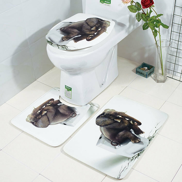 Honana Bathroom Rug Mats Set 3 Piece 3D Elephant Flannel Soft Anti-slip Shower Toilet Rug Floor Mat