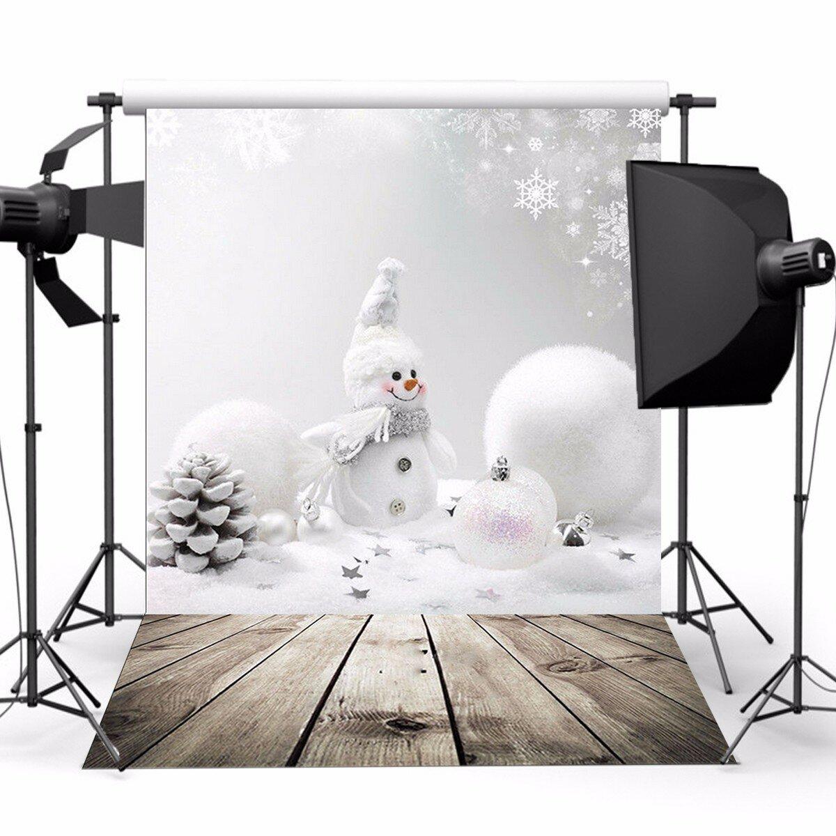 3x5ftクリスマステーマクリスマス雪だるま木製の写真ビニールの背景