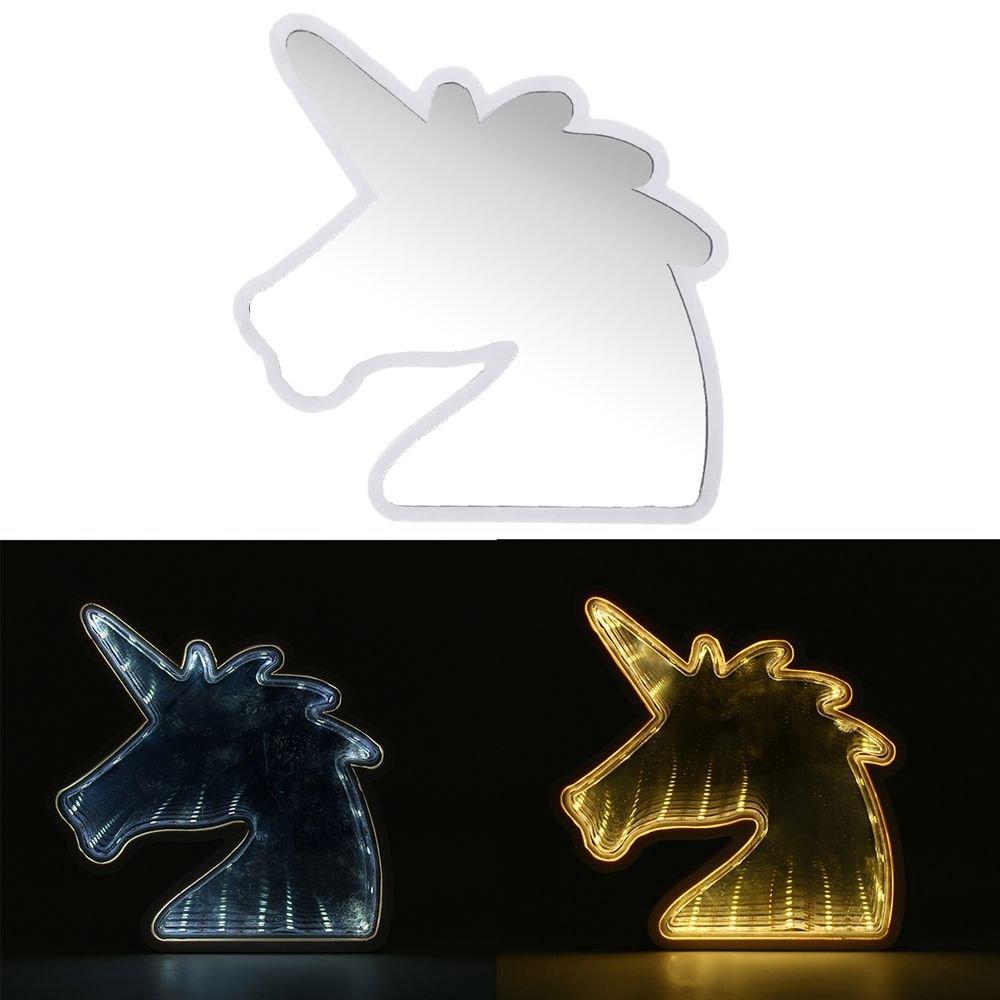 Creative Cute Unicorn Mirror Lamp LED Tunnel Night Light for Kid Atmosphere Light White/Warm White