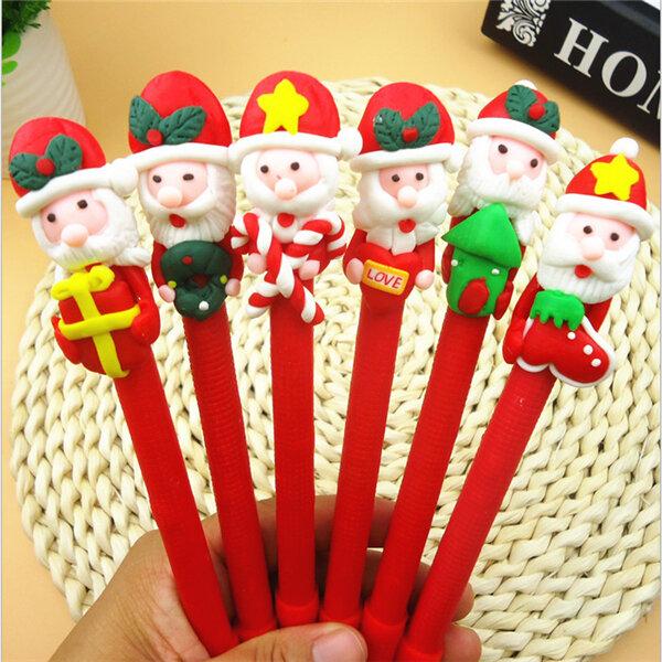 Christmas Santa Claus Crutches Style Soft Ceramic Ball Pen Cartoon Christmas Gifts Ballpoint