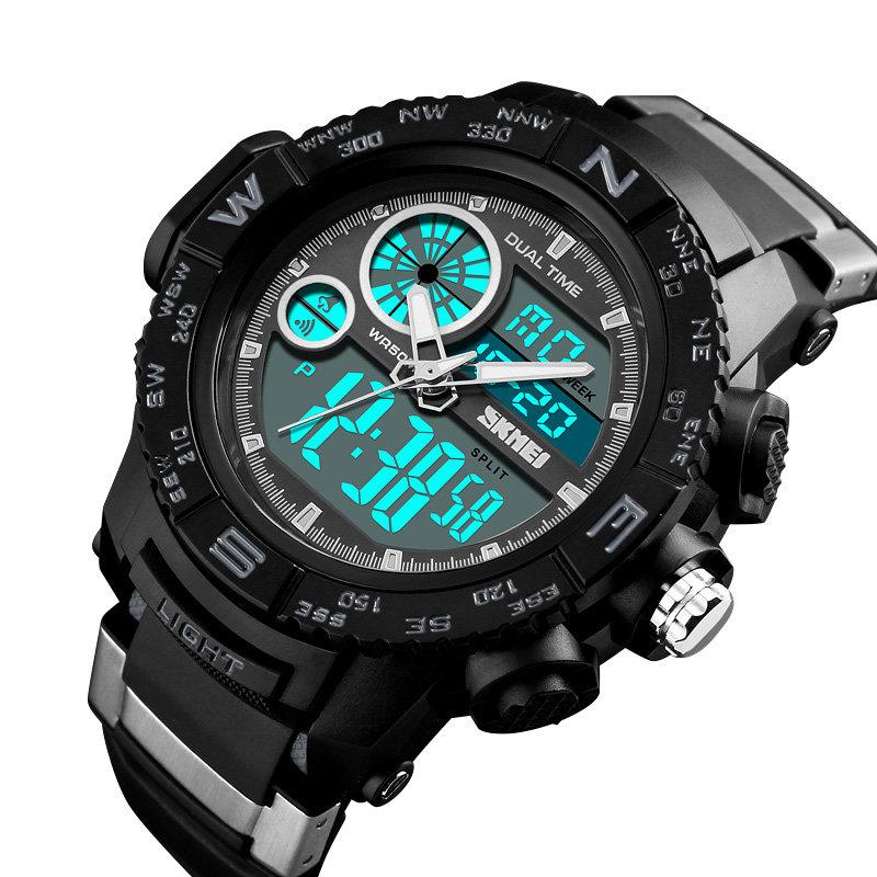 SKMEI Dual Display Digital Mens Watches Chronograph Alarm Watch Waterproof Outdoor Sport Watch