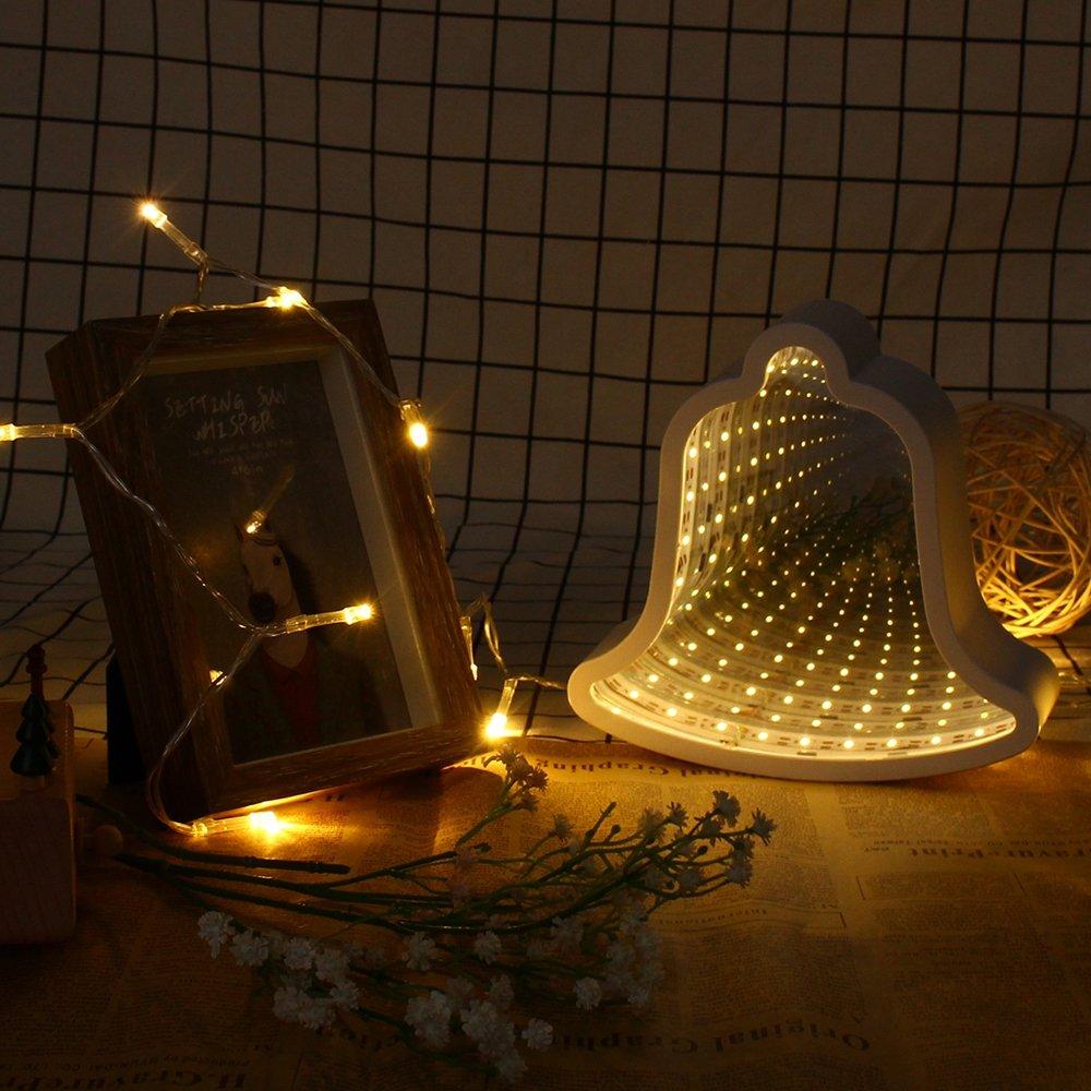 Creative Cute Bell Mirror Lamp LED Tunnel Night Light for Kid Gift Atmosphere Light White/Warm White