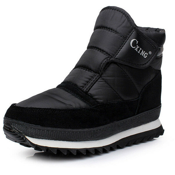 Men's Nylon Tarps Hook Loop Warm Plush Lining High top Boots