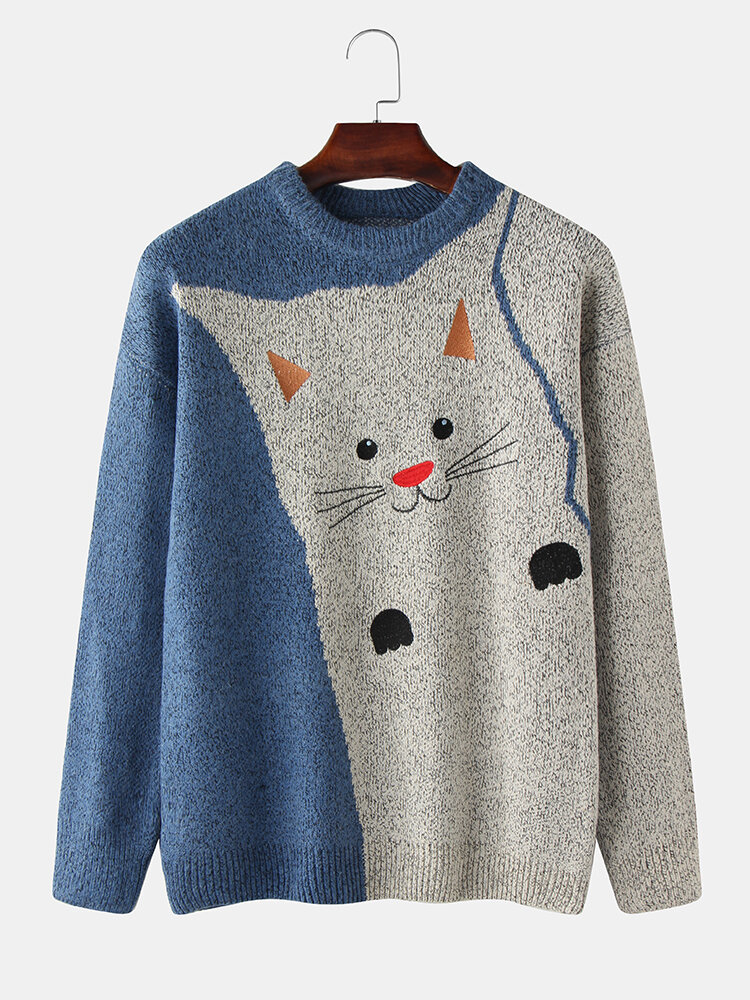 Mens Cute Cat Pattern Knit Crew Neck Casual Drop Shoulder Pullover Sweaters
