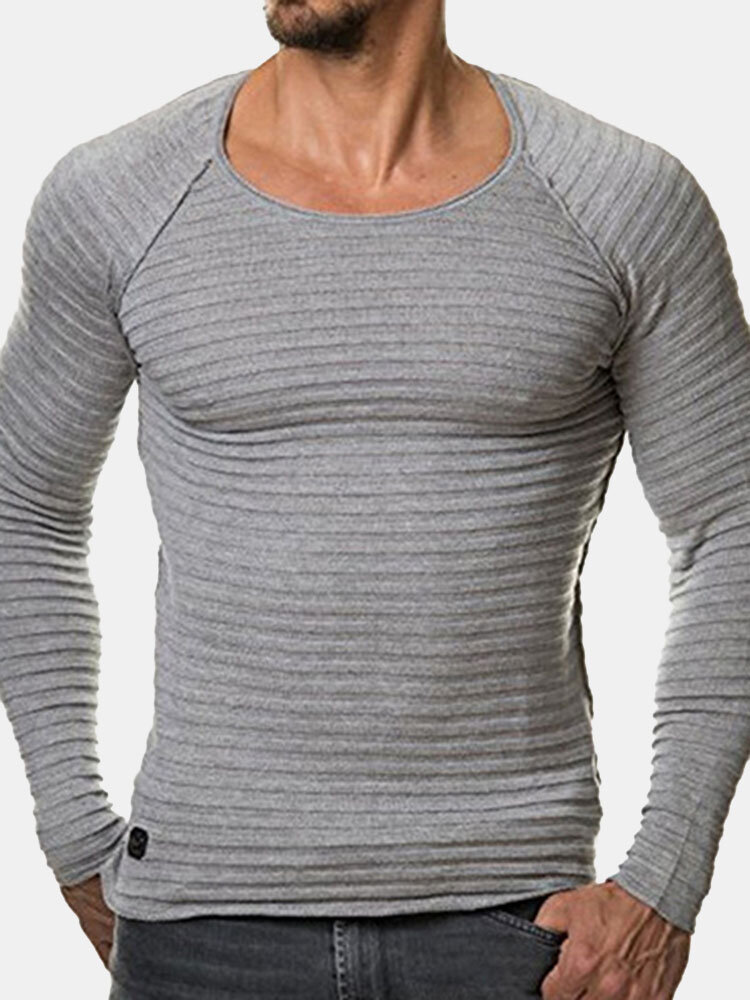 Mens Striped Folds Solid Color Round Neck Long Sleeve Slim Fit Casual T shirt