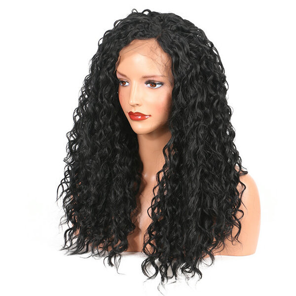 Medium Length Wavy Black Lace Front Synthetic Wig High Temperature Fiber Hair For Women