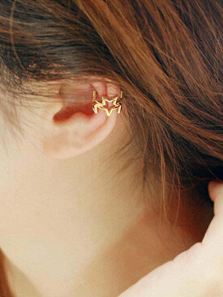 1pcs Simple Alloy Hollow Star Ear Clip Earring for Women