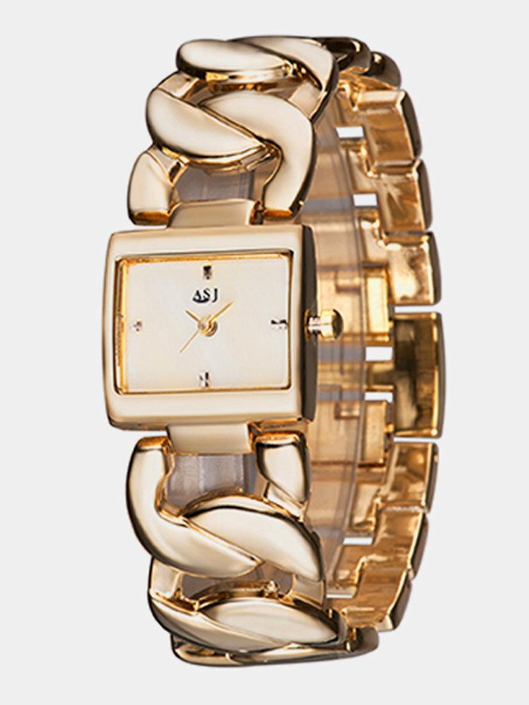 Simple Trendy Women Wristwatch Hollow Steel Band Square Dial Quartz Bracelet Watch