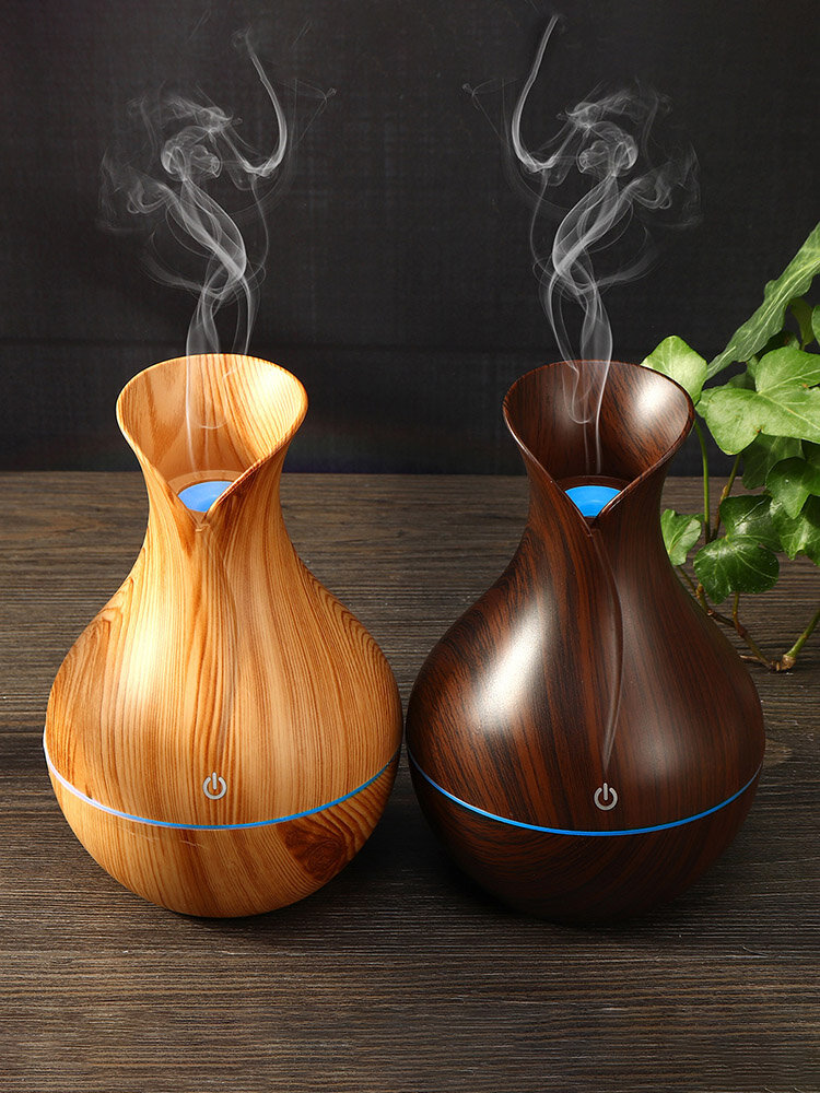 130ML Wood Aroma Essential Oil Diffuser Ultrasonic Air Humidifier Changing LED Lights