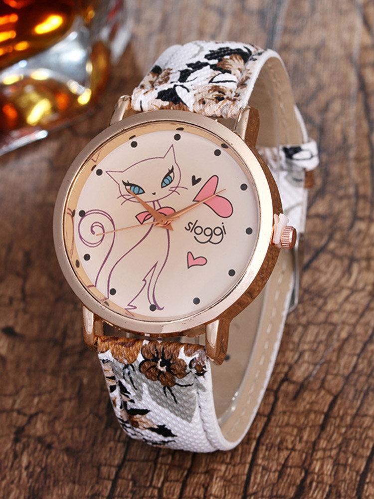 Trendy Cat Flower PU Leather Wristband Retro Quartz Women Strap Watches for Her