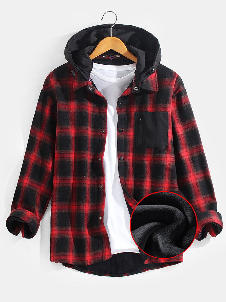 Mens Fleece Lined Classical Plaid Cotton Thick Warm Hooded Shirts