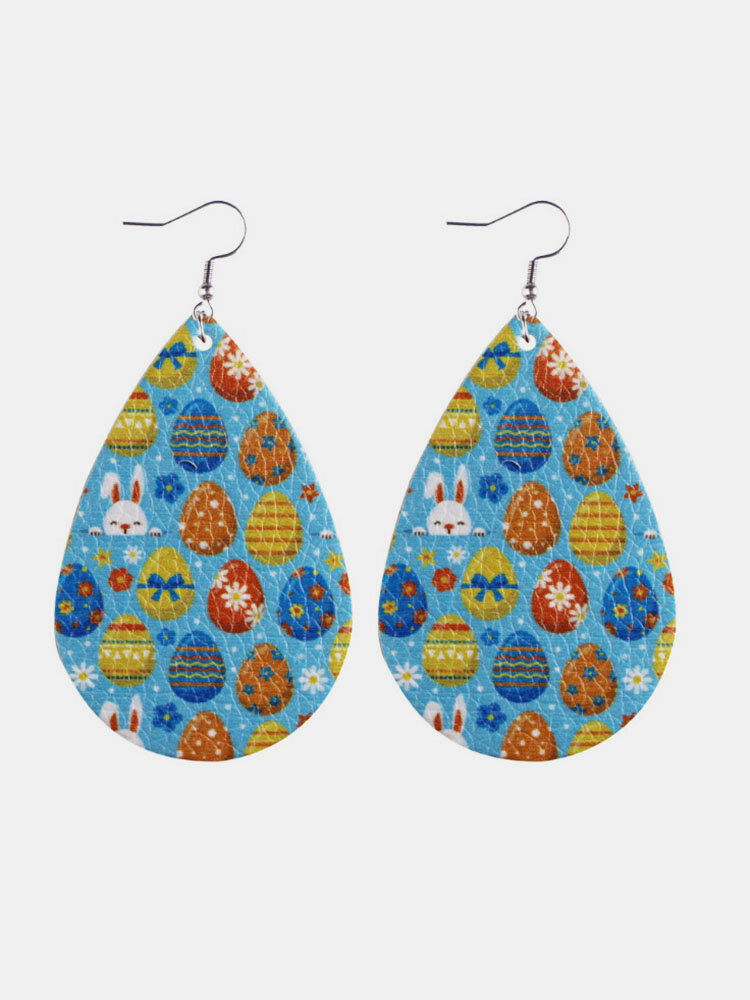 Easter Cute Colorful Bunny Print Leather Drop-shaped Earrings