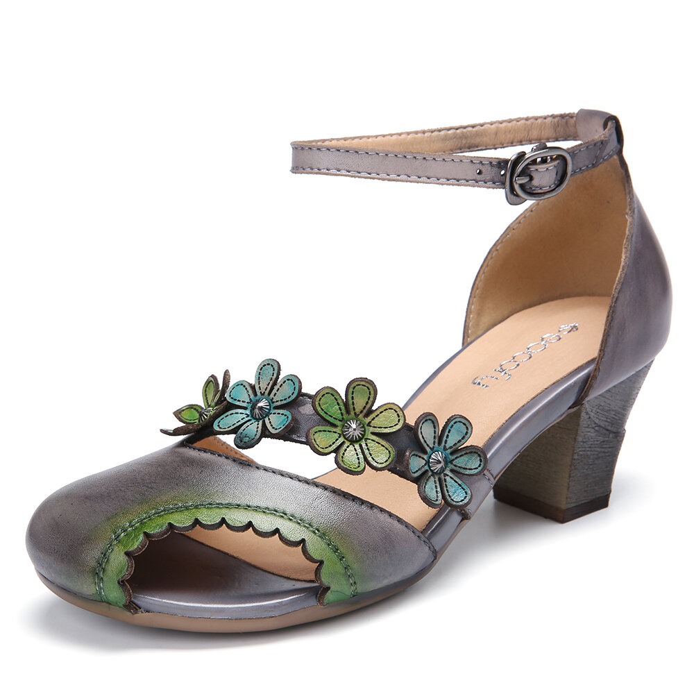 Leather Floral Cutout Buckle Ankle Strap Edged Peep Toe Block Heel Dorsay Pumps