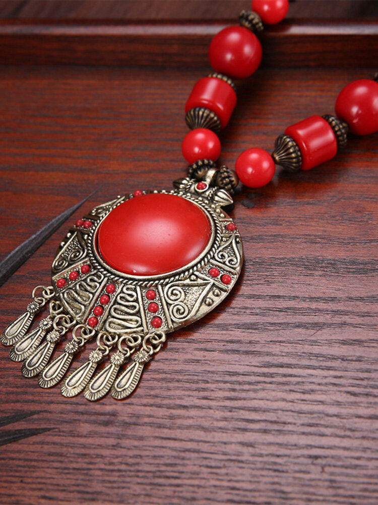 Vintage Bohemian Tassel Round-shape Alloy Wood Resin Necklaces