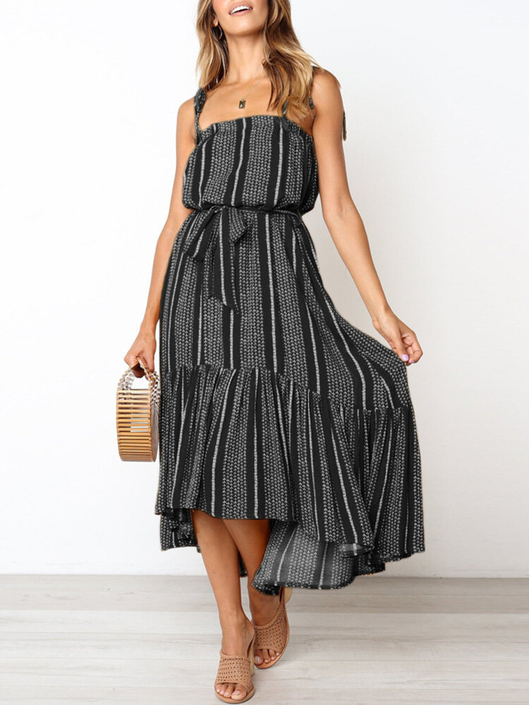 Holiday Floral Stripe Print Backless Strap Knotted Sexy Kleid