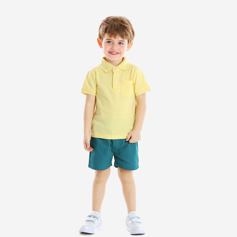 Boy's Yellow Short-sleeved T-shirts+Pants Casual Clothing Set For 1-8Y