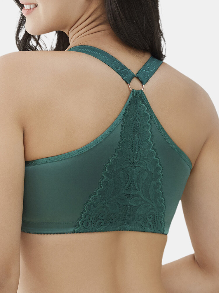 Wireless Front Closure Lace Patchwork Seamless Beauty Back Bra