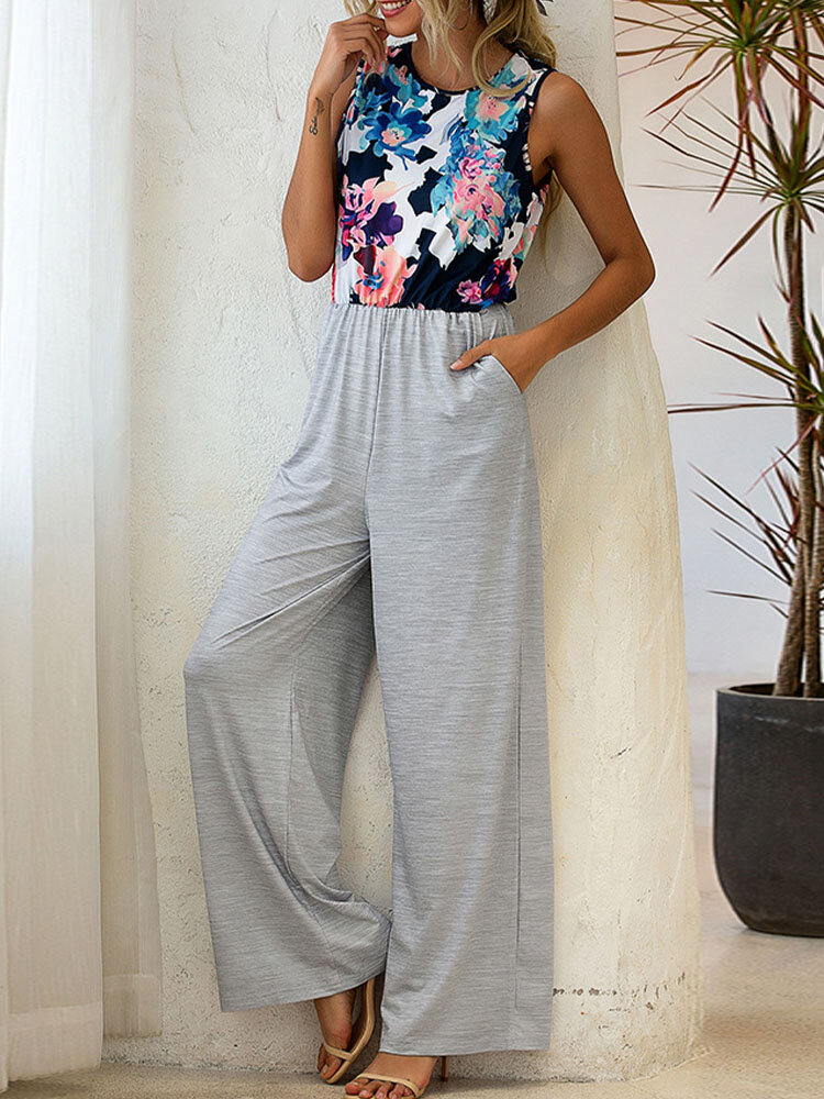 Flower Print Patchwork Sleeveless Button Back Jumpsuit With Pocket