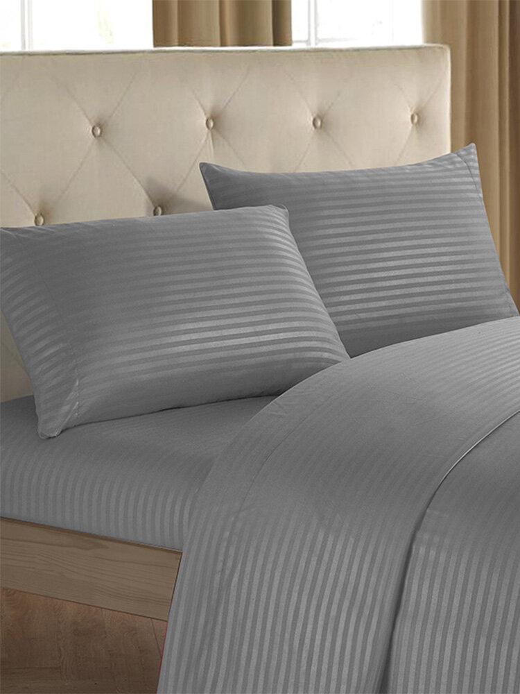 Brief Nordic Bedding Set Men Women Bed Linen Black White Microfiber Striped Bed Sheet Pillow