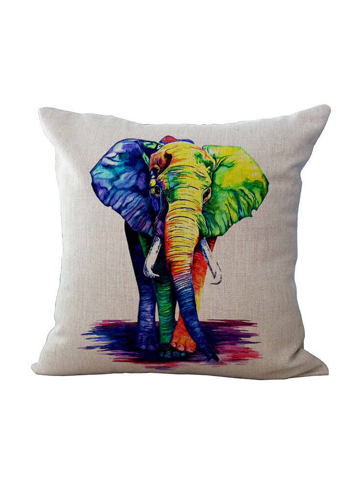 Ink Painting Elephant Cotton Linen Pillow Home Decoration Holiday Cushion Pillowcase