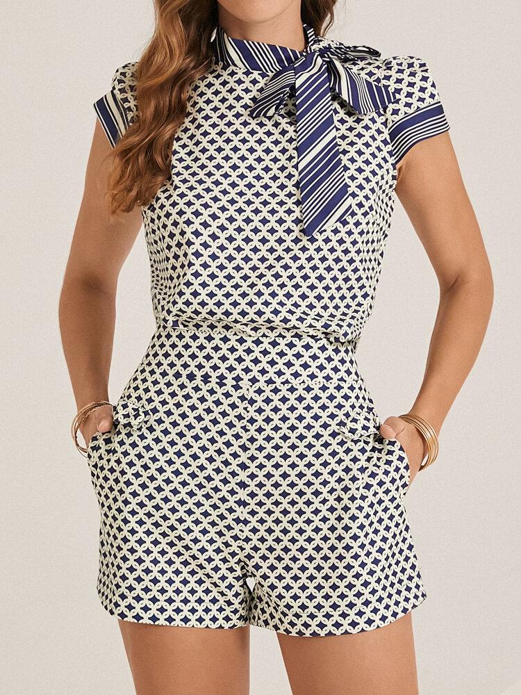 Striped Print Knotted Collar Patchwork T-shirt & Pocket Shorts Vintage Suit