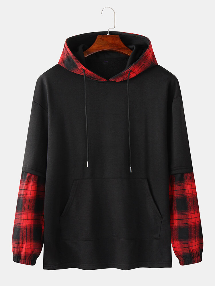 Mens Plaid Stitching Doctor Sleeve Casual Drawstring Hoodies