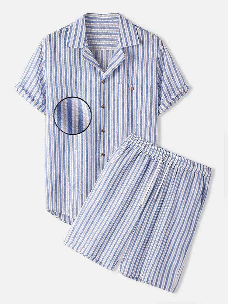 Mens Cotton Revere Stripe Stretch Fabric Seersucker Two Piece Outfits