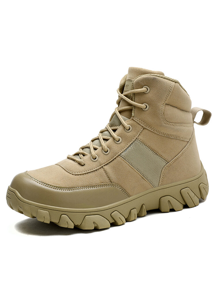 Men Suede Breathable Outdoor Non Slip Hiking Combat Boots