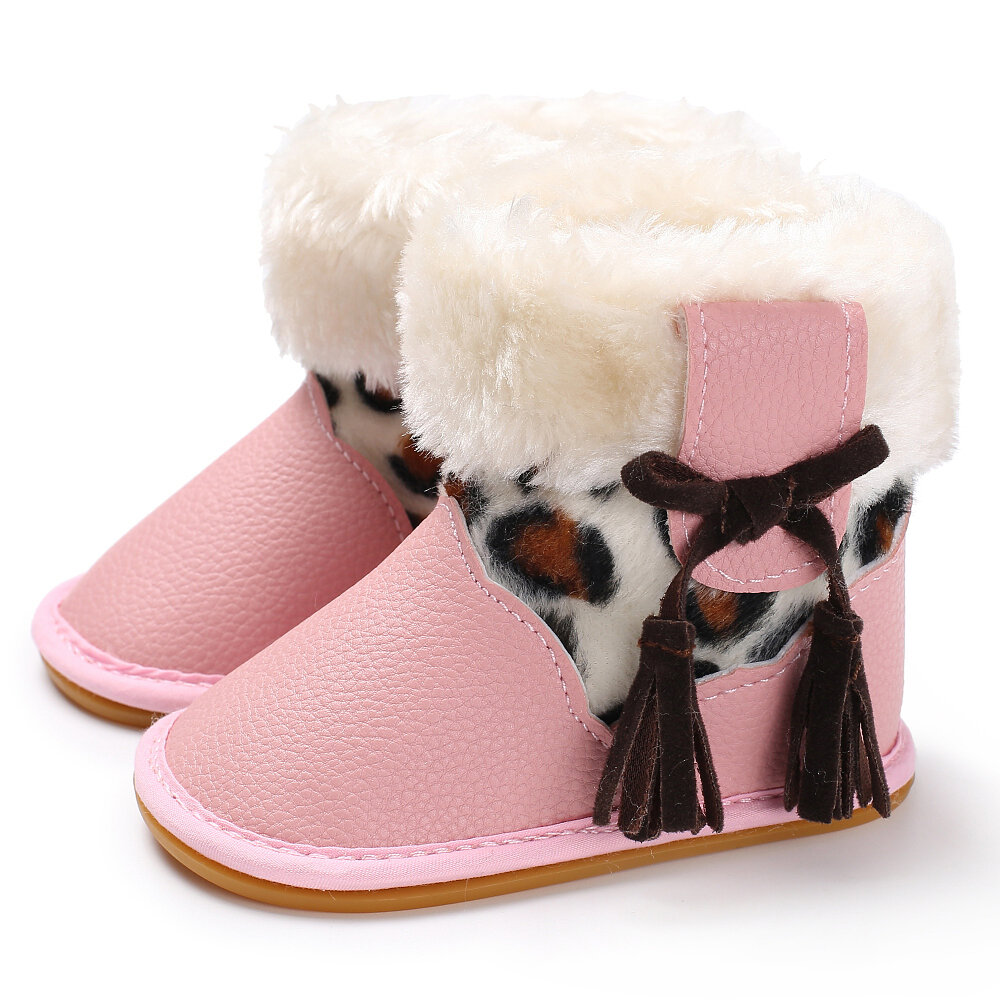 Baby Toddler Shoes Cute Lace-up Tassel Decor Comfy Plush Warm Non Slip Soft Hook Loop Snow Boots