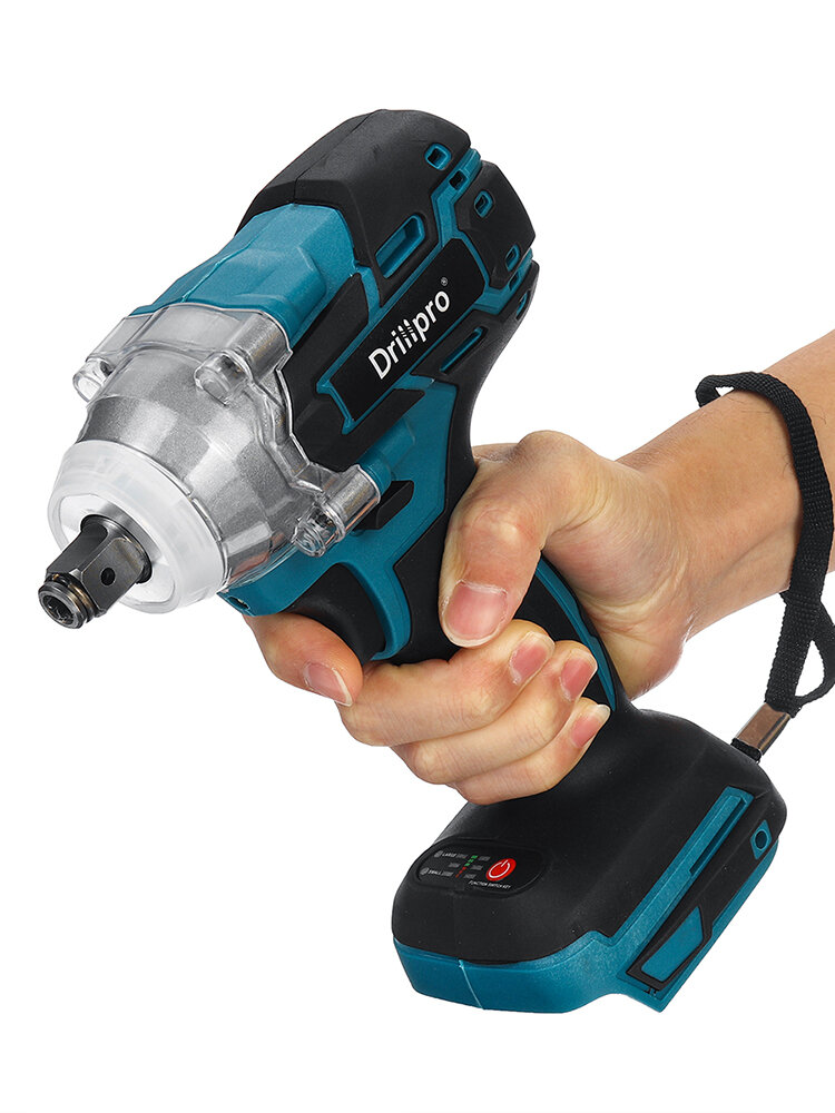 Drillpro 18V Brushless Cordless Electric Impact Wrench Rechargeable 1/2 Wrench Socket Power Tool for Makita Battery