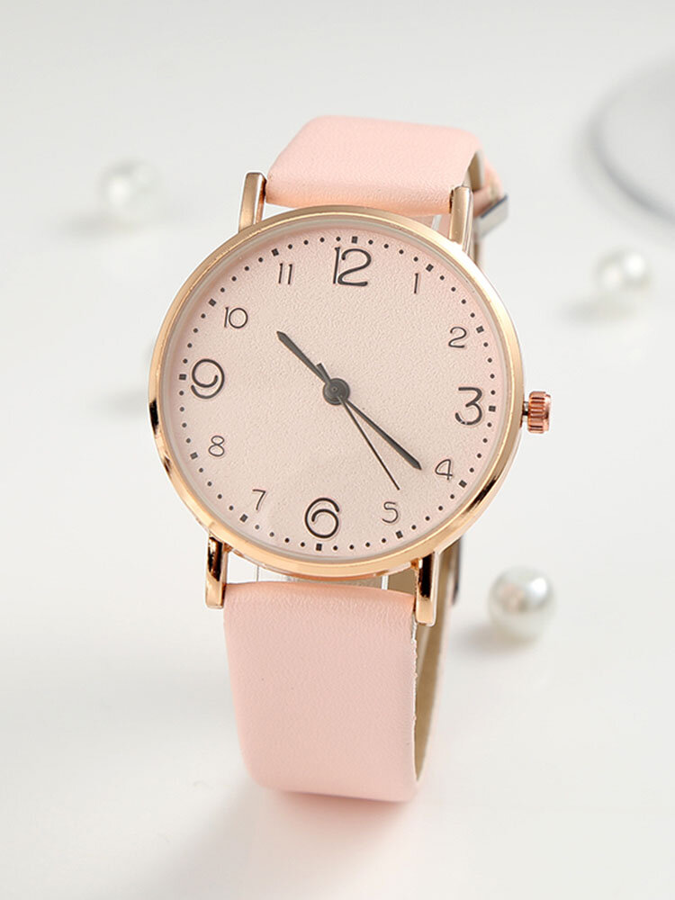 Fashion Cute Women Watches Leather Band Rose Gold Case Large Three-Hand Dial Quartz Watch