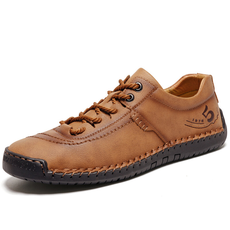 Men Hand Stitching Soft Lace Up Microfiber Leather Casual Shoes