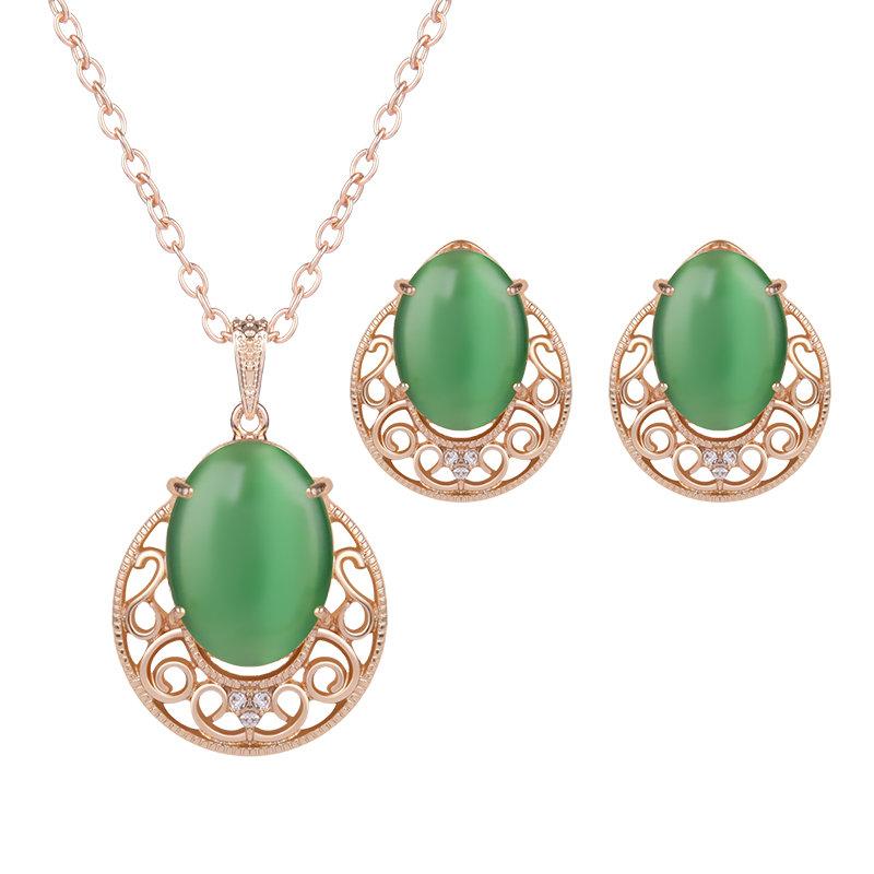 Retro Jewelry Set Resin Rhinestone Earrings Necklace Set