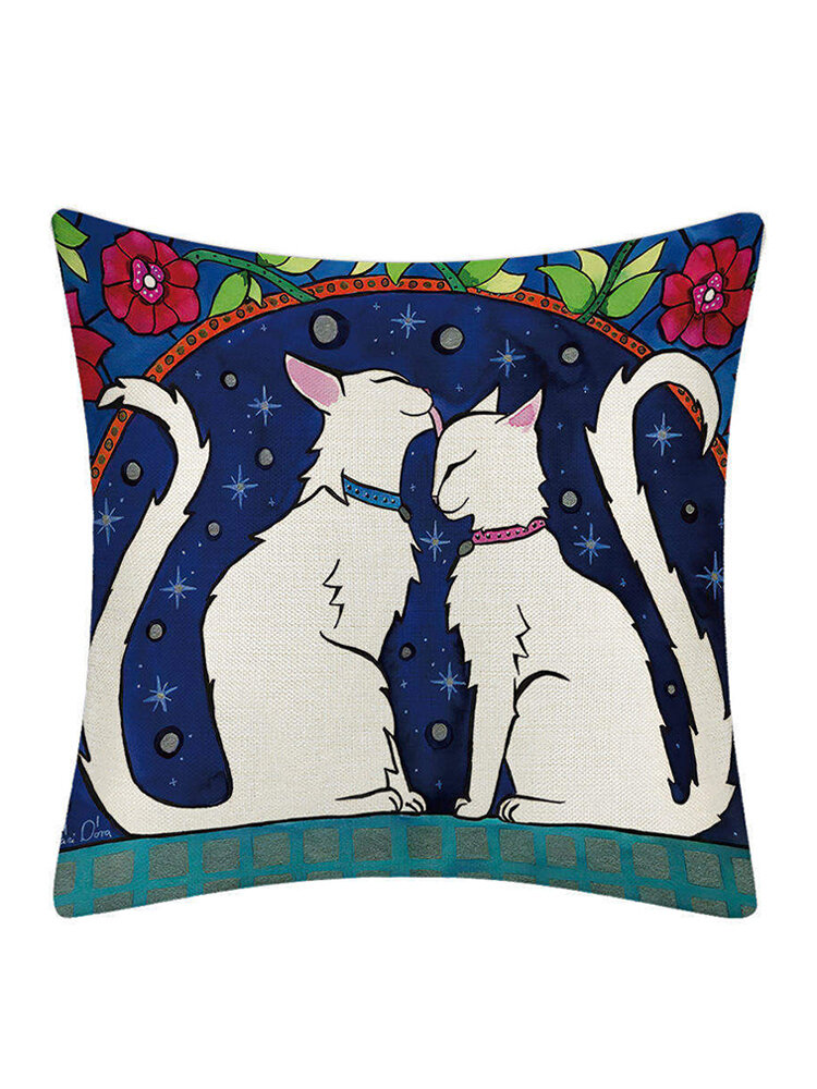 1 PC Cartoon Cat Pillowcase Linen Pillow Cushion Decorative Throw Pillow Cover Home Fabric Sofa Cushion Cover