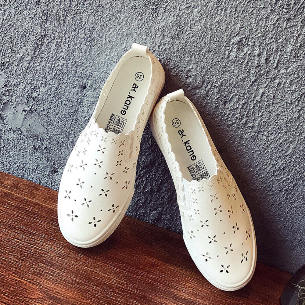 Women Student Casual Breathable Hollow While Flat Shoes