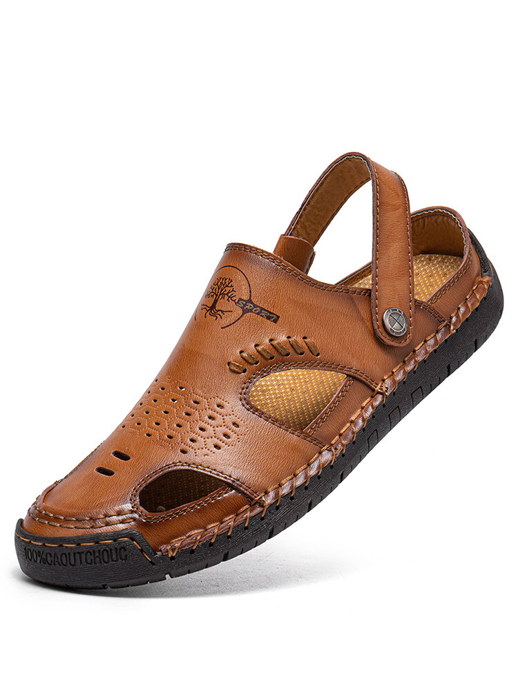Men Hand Stitching Comfy Non Slip Soft Two-ways Wearing Leather Sandals