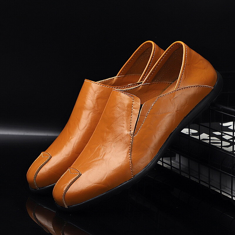 Men Comfy Leather Breathable Non Slip Slip On Casual Driving Loafers