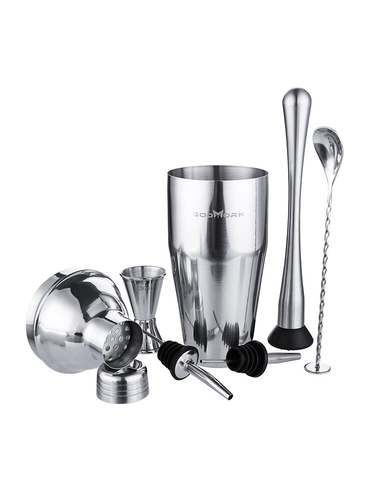 7Pcs Stainless Steel Cocktail Shakers Mixer Drink Bartender Bar Set Tools Kit