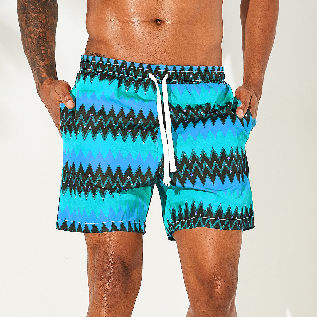 1e80216c1a0 ChArmkpR Men Ethnic Style Stripe Printing Hawaii Board Shorts Surfing Quick  Drying Beach Casual Shorts Cheap